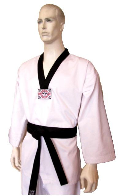 YAMASAKI V2 RIBBED TAEKWONDO UNIFORM - BLACK V NECK 8oz