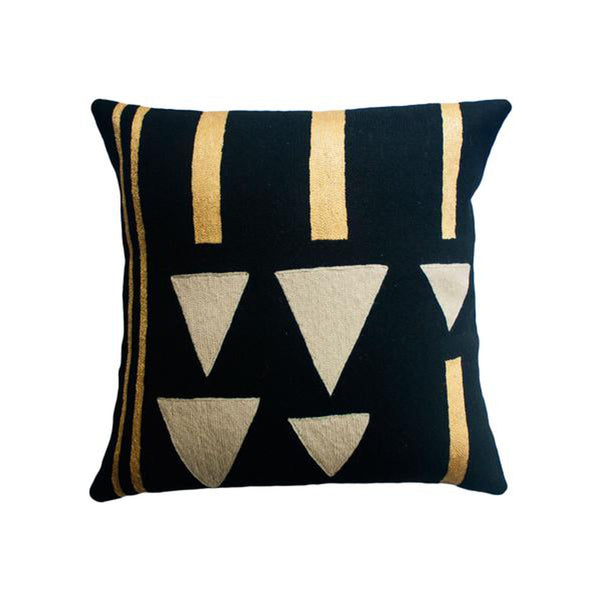 Anaya Rain Gold Pillow by Leah Singh