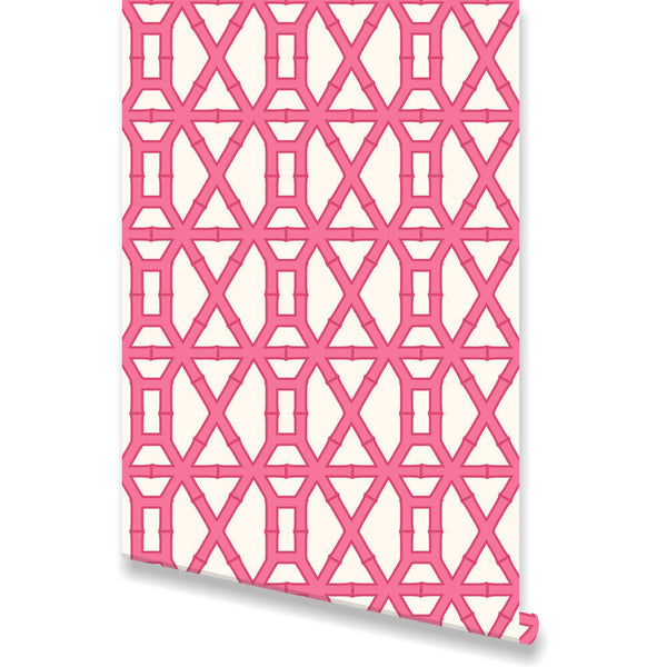 Bamboo Pink Wallpaper by Clairebella Studio