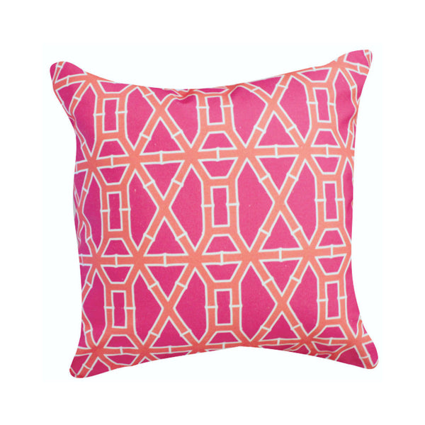 Bamboo Pink and Orange Pillow by Clairebella Studio