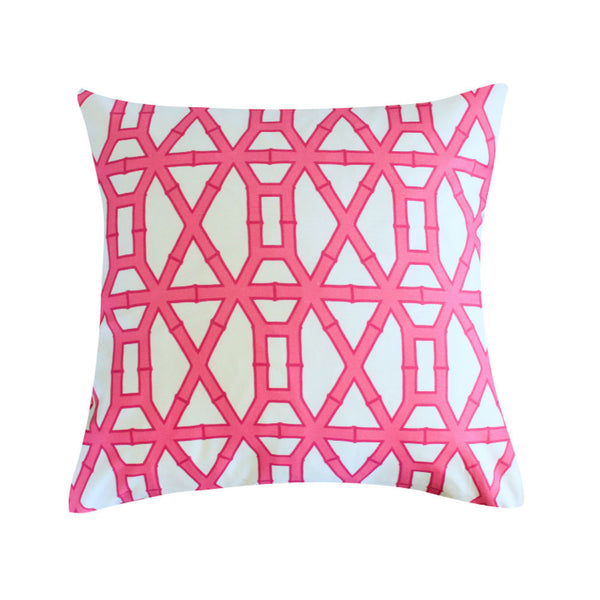 Bamboo White and Pink Pillow by Clairebella Studio