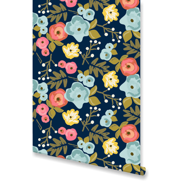 Bloom Navy Wallpaper by Clairebella Studio
