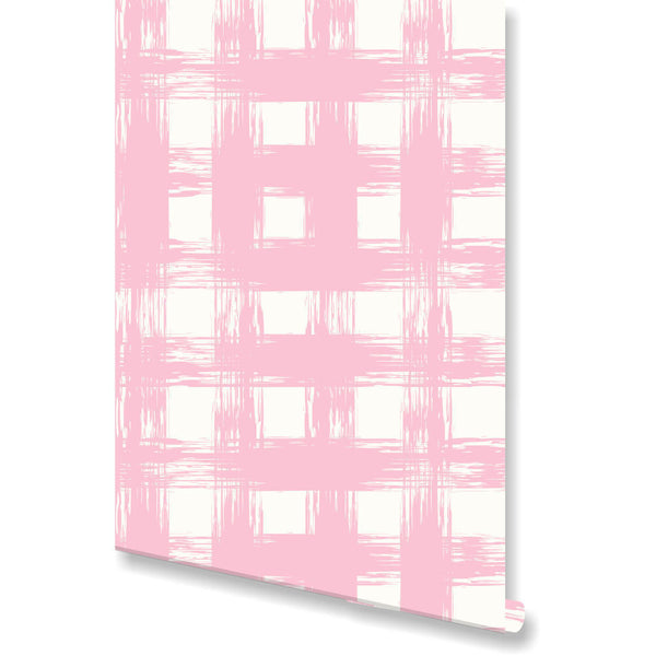 Brush Check Blush Wallpaper by Clairebella Studio