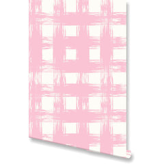 Brush Check Blush Wallpaper by Clairebella Studio - Wallpaper - Clairebella Studio - Salut Home