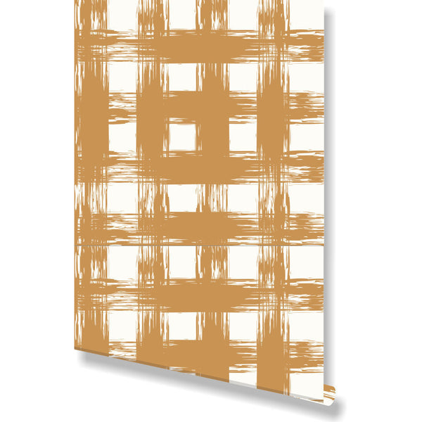 Brush Check Gold Wallpaper by Clairebella Studio