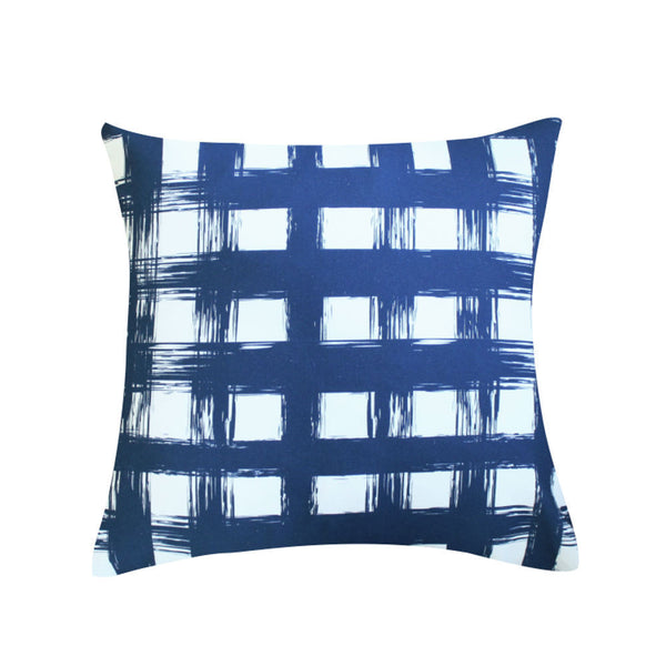Brush Check Navy Pillow by Clairebella Studio