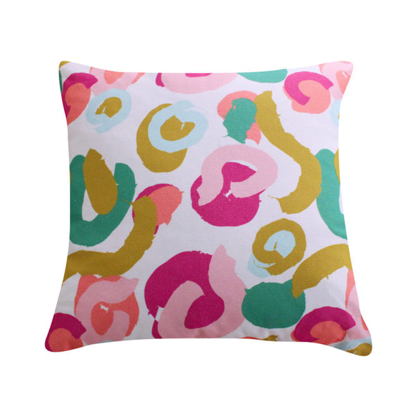 Brushstrokes Pink Pillow by Clairebella Studio
