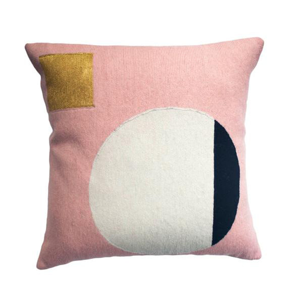 Daphne Circle Gold Pillow by Leah Singh