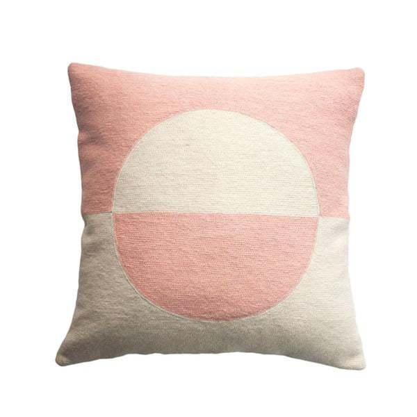 Daphne Circle Pink Pillow by Leah Singh
