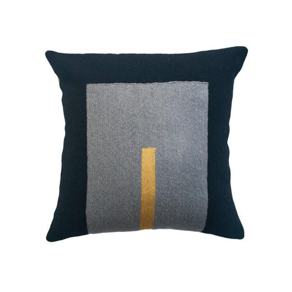 Daphne Square Black Pillow by Leah Singh