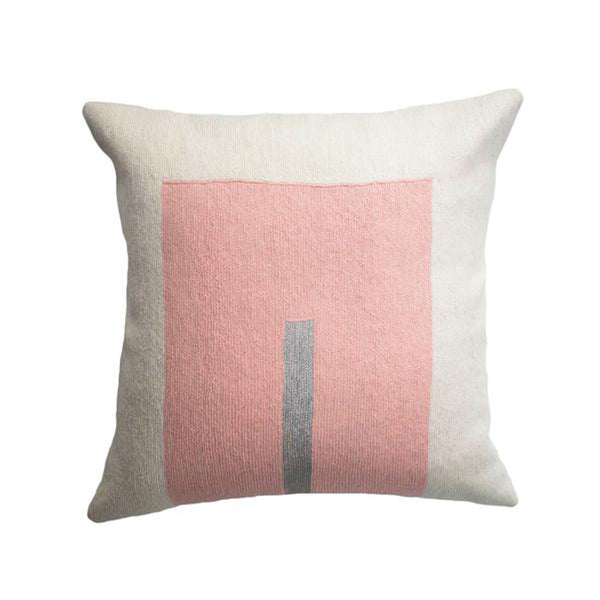 Daphne Square Pink Pillow by Leah Singh