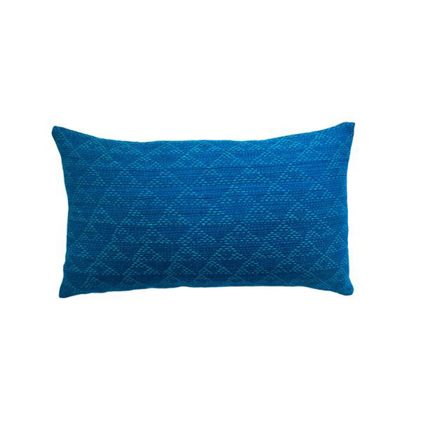 Eva Indigo and Aqua Pillow by Leah Singh