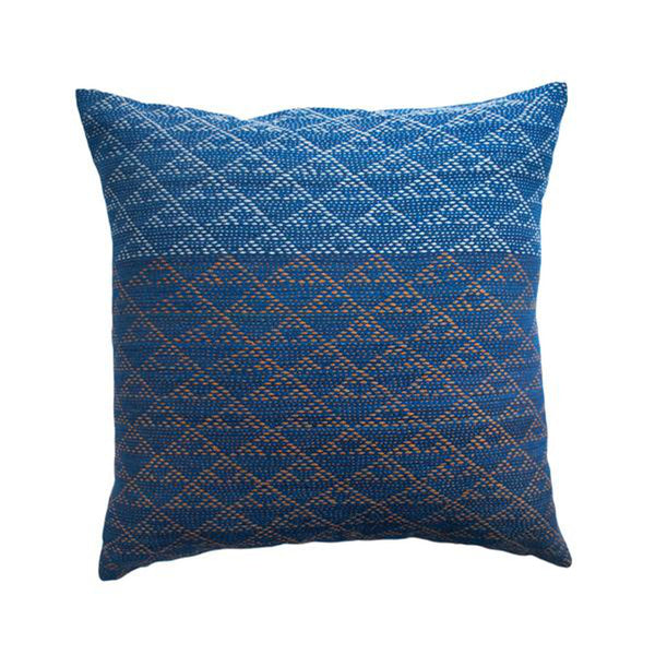 Eva Indigo and Rust Pillow by Leah Singh