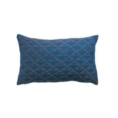 Eva Indigo and Rust Lumbar  Pillow by Leah Singh - Pillow - Leah Singh - Salut Home
