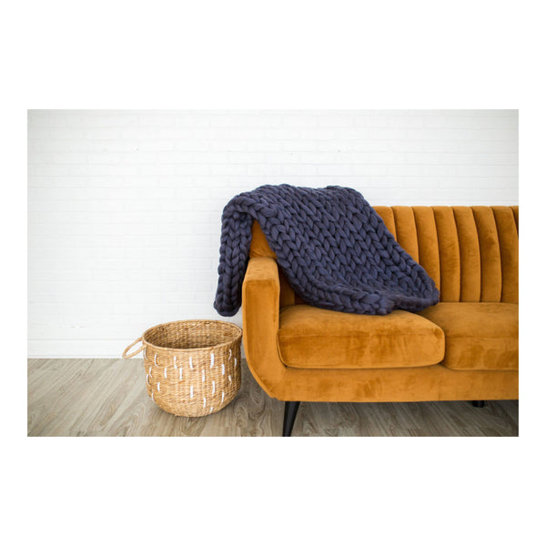 Chunky Knit Blanket - Blue Graphite by Lane and Mae