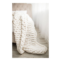 Chunky Knit Blanket - Simply White by Lane and Mae - Blanket - Lane and Mae - Salut Home