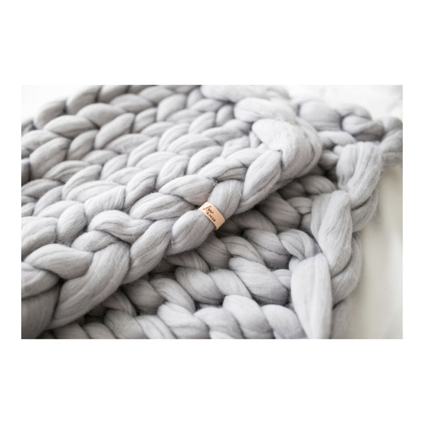 Chunky Knit Blanket - Winter Gray by Lane and Mae