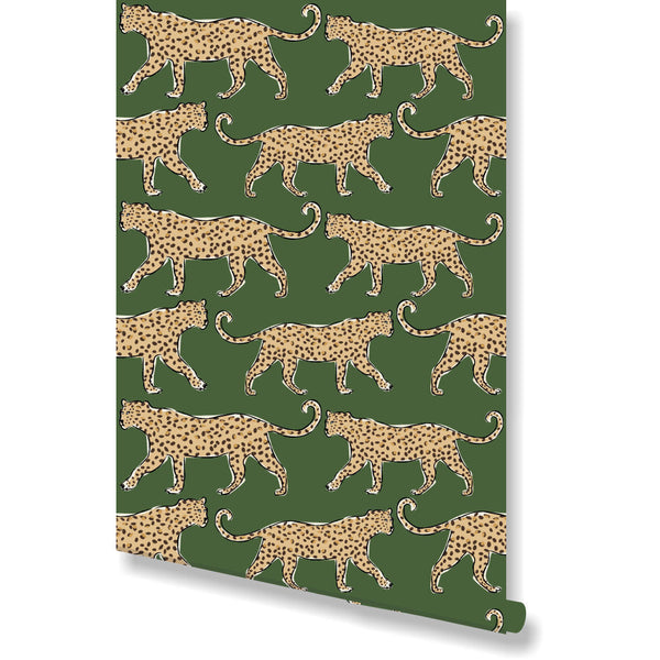 Leopard Green Wallpaper by Clairebella Studio