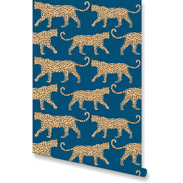 Leopard Teal Wallpaper by Clairebella Studio