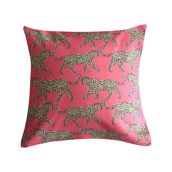 Leopard Coral Pillow by Clairebella Studio