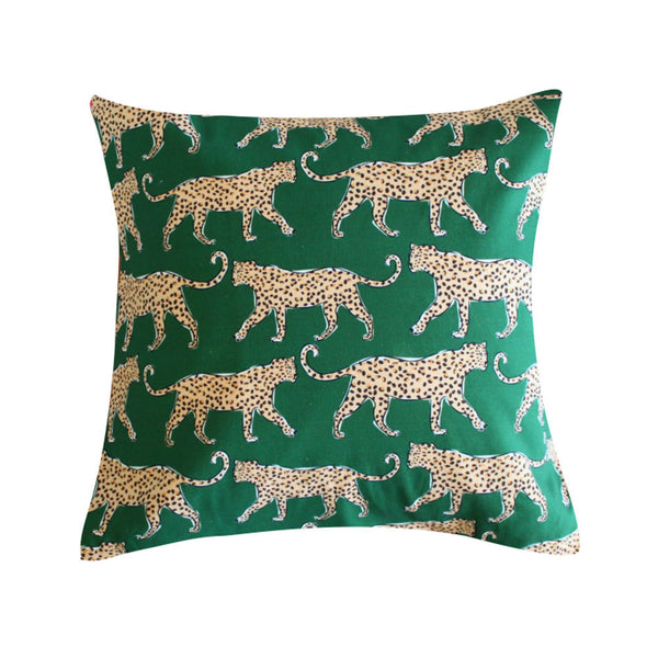 Leopard Green Pillow by Clairebella Studio