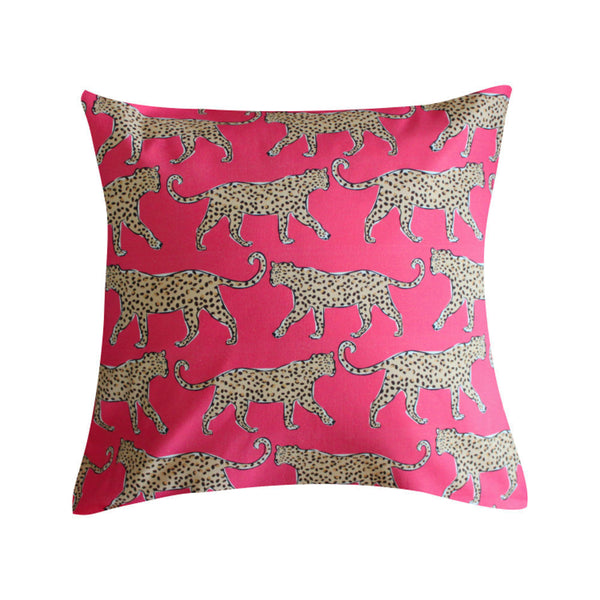 Leopard Pink Pillow by Clairebella Studio