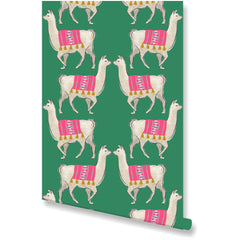 Llama Green Wallpaper by Clairebella Studio - Wallpaper - Clairebella Studio - Salut Home