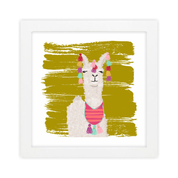 Llama I Green Art Print by Clairebella Studio