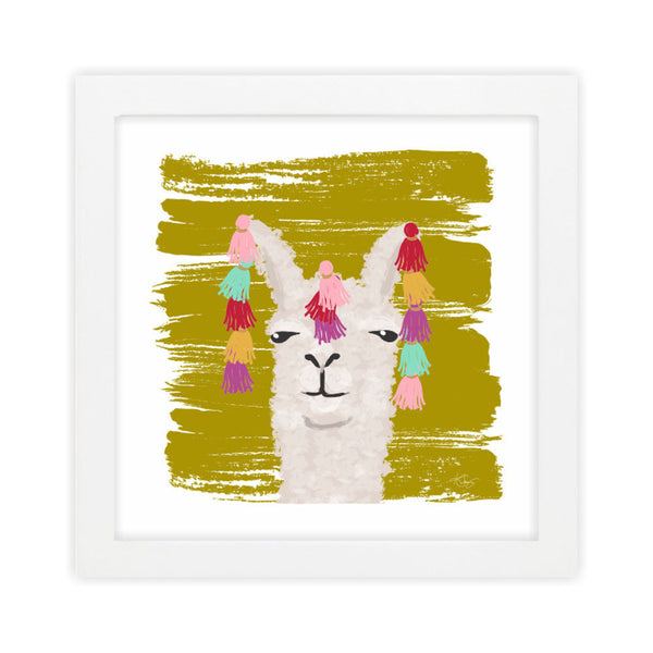 Llama II Green Art Print by Clairebella Studio