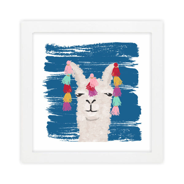 Llama II Blue Art Print by Clairebella Studio