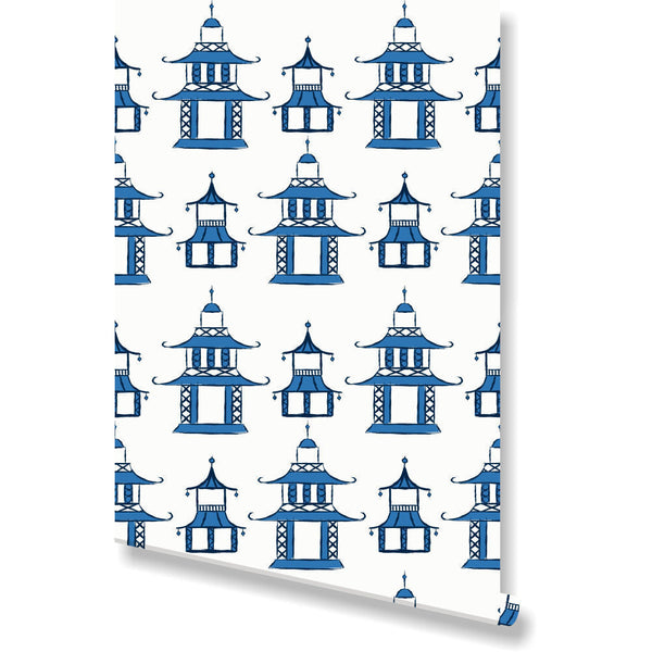 Pagoda Wallpaper by Clairebella Studio