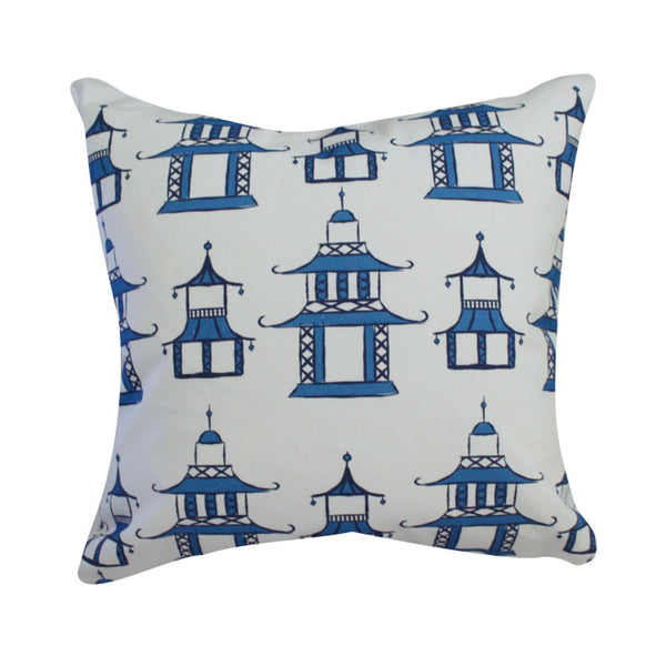 Pagoda Blue Pillow by Clairebella Studio