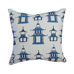 Pagoda Blue Pillow by Clairebella Studio - Pillow - Clairebella Studio - Salut Home