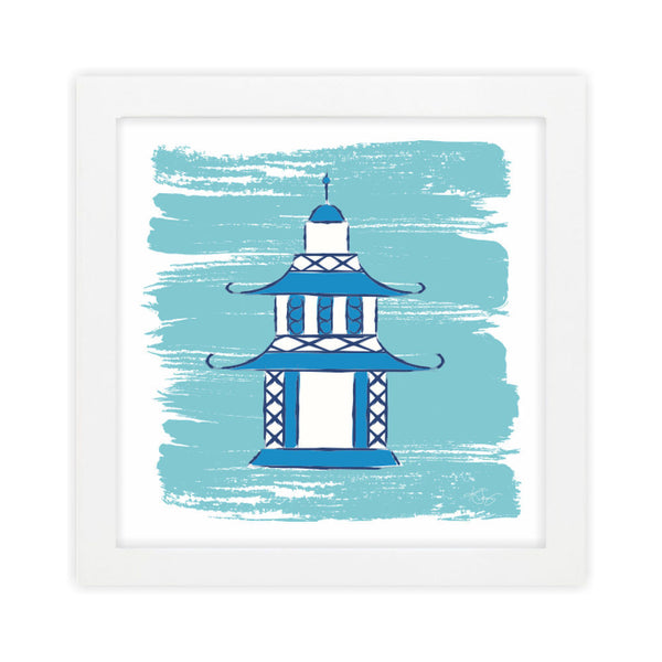 Pagoda II Blue Art Print by Clairebella Studio