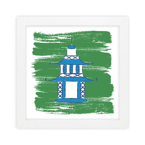Pagoda II Green Art Print by Clairebella Studio