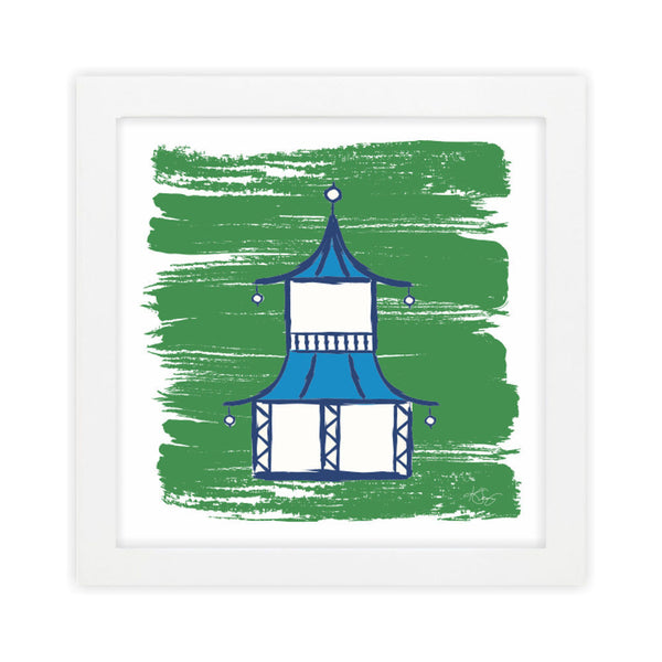 Pagoda I Green Art Print by Clairebella Studio