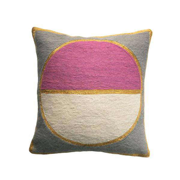 Rose Grey Pillow by Leah Singh