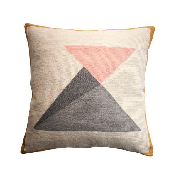 Rose Triangles Pillow by Leah Singh