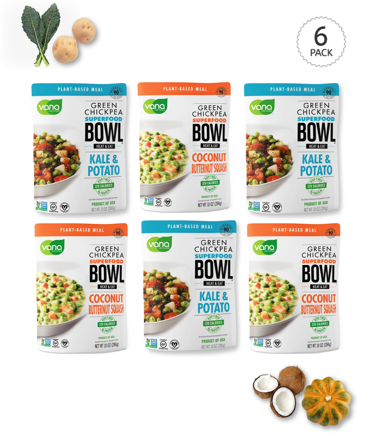 Variety Pack - 3 Kale Potato - 3 Coconut Butternut Squash Meals
