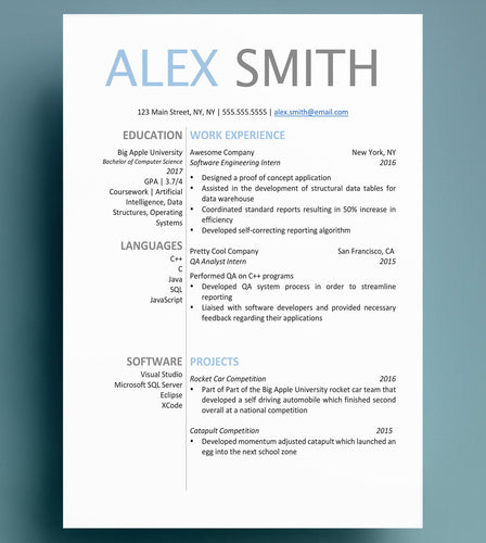 computer science resume blue
