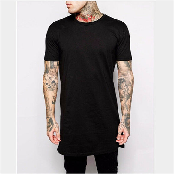 Casual Long Black Tee for Men