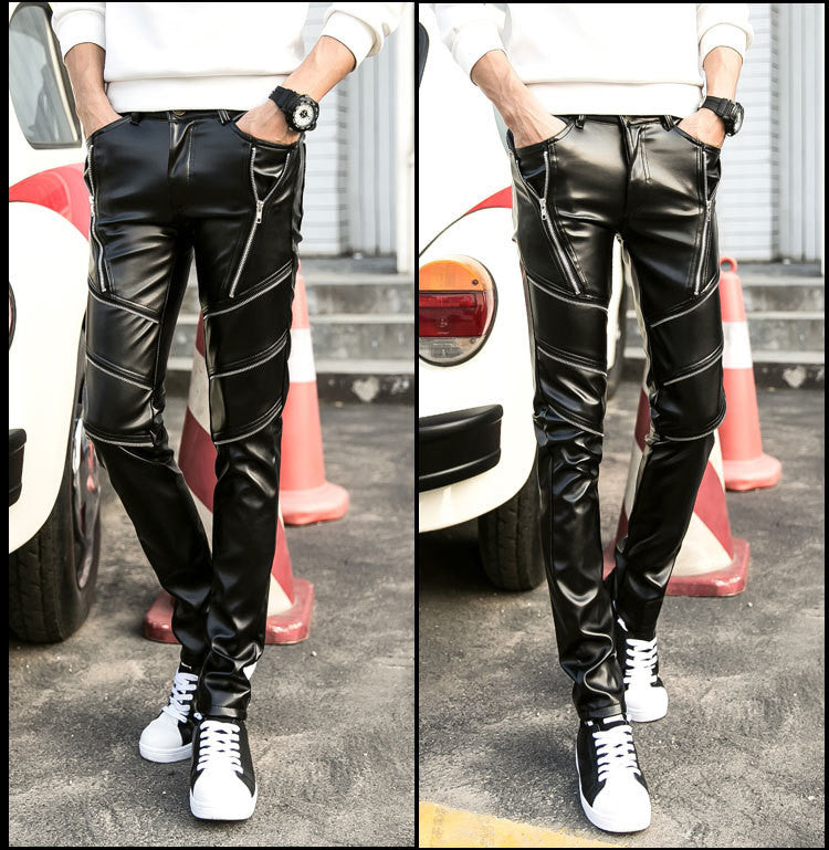 leather hip hop pants