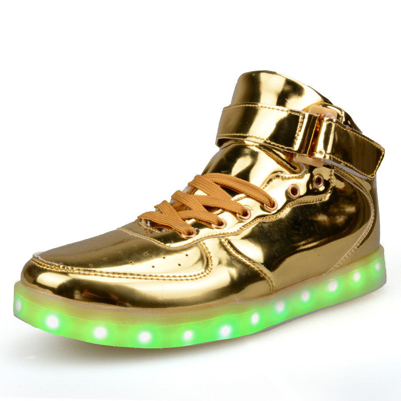 55cfd5220bcd4d Gold   Silver High Top Shoes That Light Up   LED Shoes USB Charged ...