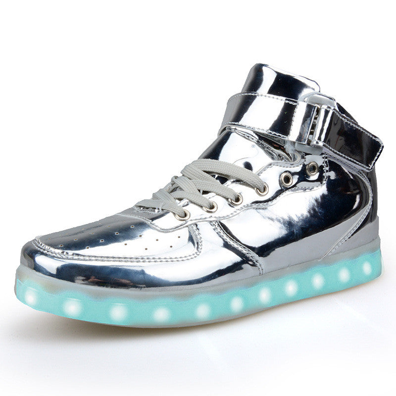 Gold Amp Silver High Top Shoes That Light Up Led Shoes Usb
