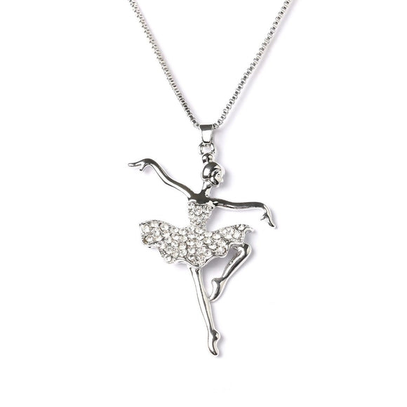 Silver Ballet Dancer Necklace