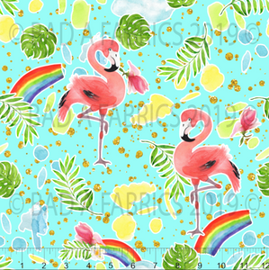 Mint Flamingos Double Sided Minky (Retail)
