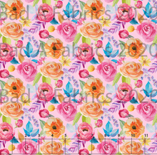 Load image into Gallery viewer, Pink & Orange Floral Cotton Lycra (Retail)