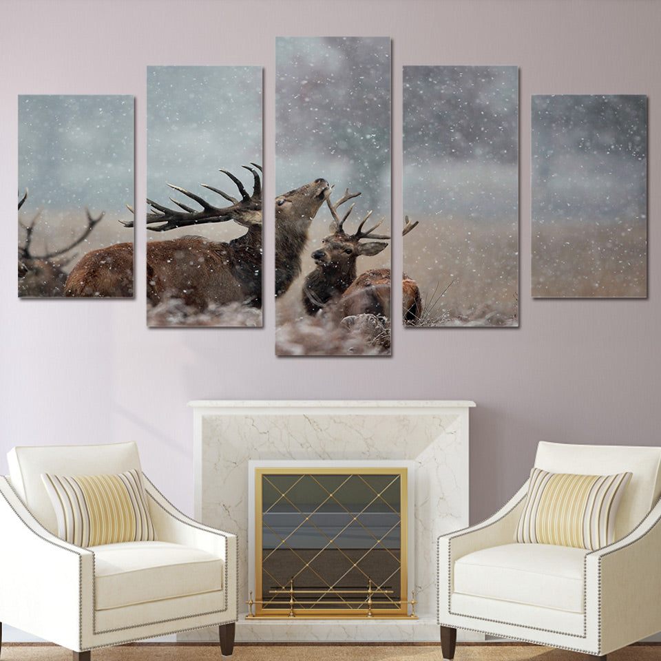 Limited Edition 5 Piece Deer in Snow Canvas