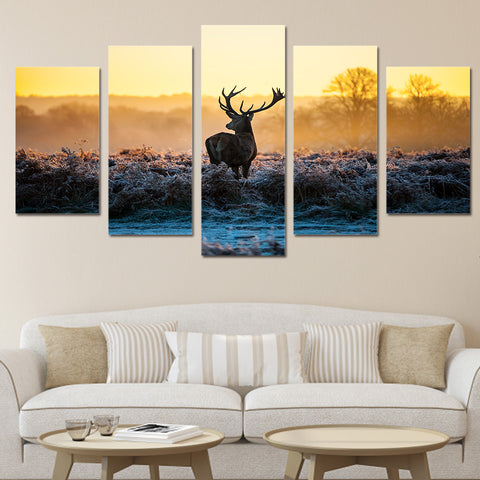 Limited Edition 5 Piece Amazing Deer in Sunset Canvas