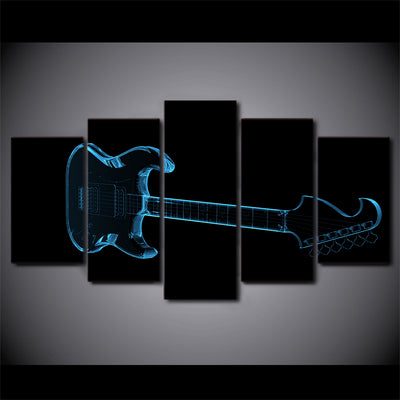 Limited Edition 5 Piece Abstract Guitar In Black Canvas